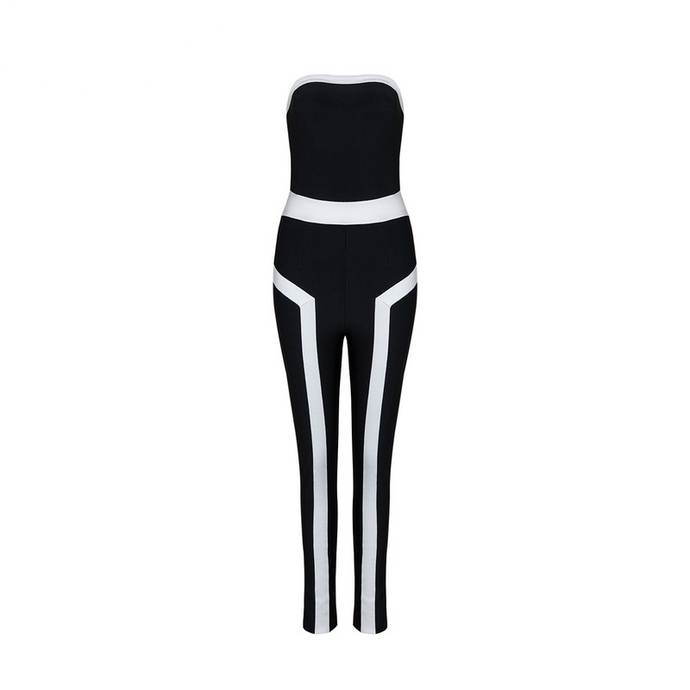 'Vivian' Black & White Racer Stripe Sleeveless Jumpsuit - PYNK CONFESSIONS