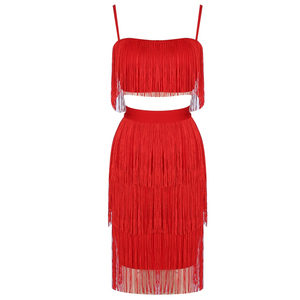Fire Red Tassel Detail Two Piece Set - PYNK CONFESSIONS