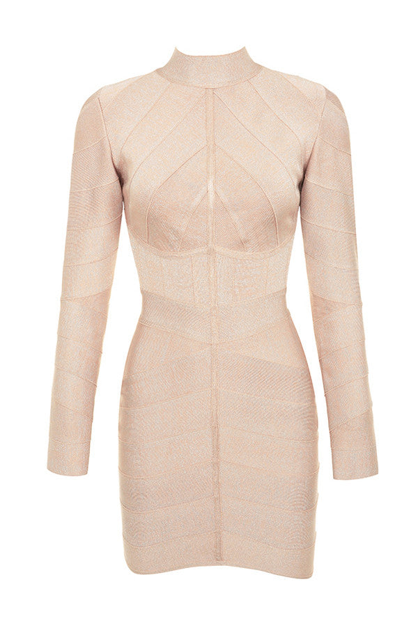 Nude Long Sleeve Striped Bandage Dress - PYNK CONFESSIONS