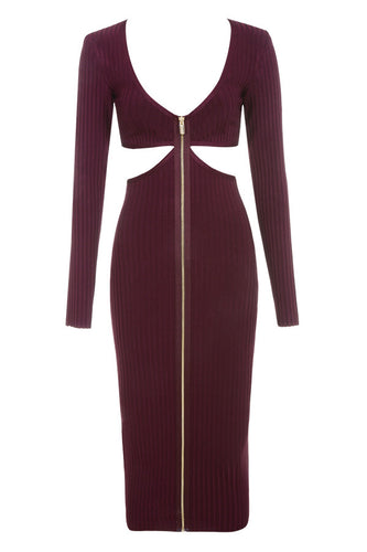 Burgundy Cut Out Bandage Dress