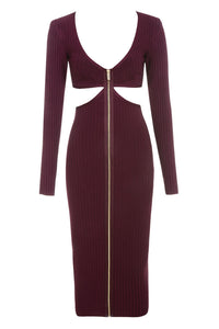 Burgundy Cut Out Bandage Dress - PYNK CONFESSIONS