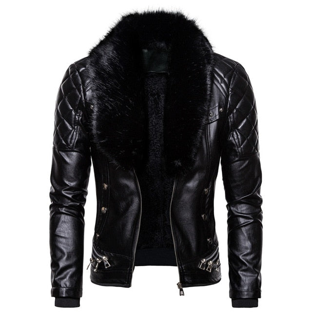 Men's Biker Leather Jacket Fur Collar Drip