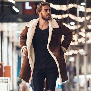 Hirigin Winter Men Casual Birtish Style Faux Fur Lapel Long puffy Jacket Long Thicken Parka Lot Warm Coat