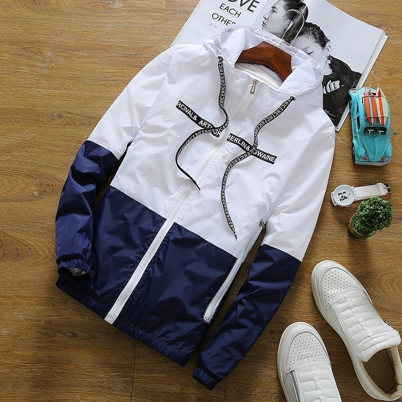 Spring Autumn Casual Slim Patchwork Windbreaker