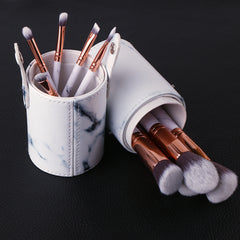 10pcs Professnial Women Makeup Brushes Soft Makeup Brush Set Foundation Powder Brush Beauty Marble Make Up Tools with cylinder