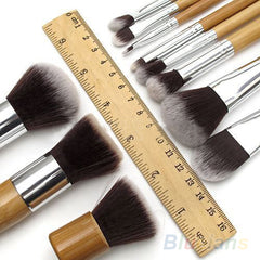 11Pcs Wood Handle Professional Makeup Cosmetic Soft Eyeshadow Foundation Concealer Brush Set Brushes Beauty Tool