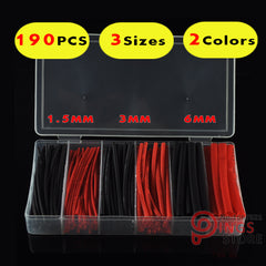 (190 STKS) 3 Maten 1.5 MM 3 MM 6 MM Zwart & Rood Assortiment Ratio 2:1 Polyolefin Krimpkous Tubing Hoezen Wrap Wire Kabel Kit