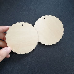 (30pcs/lot) Blank Unfinished large Circle Wood Disk Cutouts Wavy Round Wooden Disc with Hole String, Creative Wedding DIY Crafts