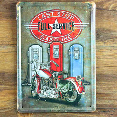 """Full service gasoline"" Garage poster Metal Tin signs Vintage painting Wall art House Cafe Bar decoration Free ship 15*20 CM"