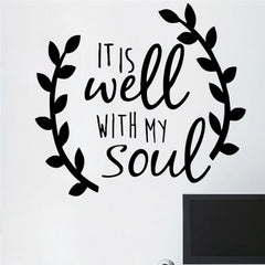 & It is well with my soul decal sticker car truck tablet laptop cell phone window vinyl wall quotes home decor bedroom decal