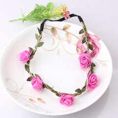 Hot Sale Flower Headband Beautiful Rose Flower Headbands For Girls Bohemian Style Wreath Wedding Floral Garland Hair Accessories