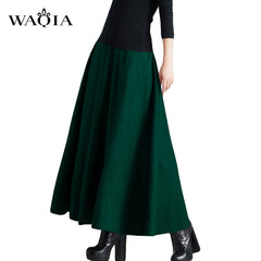 Plus Size Spring Women's Ankle-Length High Waist Long Wool Skirt for Winter Ladies Vestidos Women Slim Warm Maxi Pleated Skirt