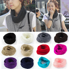 2017 Fashion Women Winter scarf  Wool Knit Snood Scarf Women Shawl Neck warmer Wrap Circle Cowl echarpe bufandas mujer 14 Colors