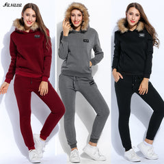 2017 Winter Tracksuits Women Thicken Sweatshirt Hoodies Solid Long Sleeve Pullovers Sweatshirt and Pants Set Slim Women Suit Top