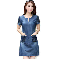 2016 New Summer Denim Dress High Quality Women V-Neck Loose Fashion Jean Dress Ladies Slim Short Sleeve Plus Size Dresses