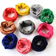 10 Colors Solid Color Warm Baby Scarf Kids Child Cotton Scarf Boys Girls Pure color O ring scarf children neck Scarves wholesale