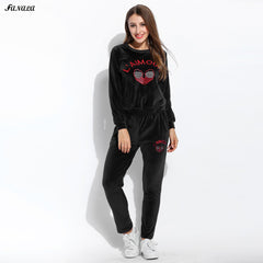 2017 Winter Tracksuits Women Sweatshirt Hoodies Women Embroidery Solid Long Sleeve Pullovers Sweatshirt And Pants Slim Clothing