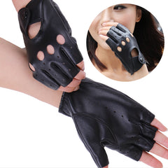 2016 Hot Fashion Women's Half Finger Gloves Female PU Leather Fingerless Driving Mittens Cut Out Street Style Glove