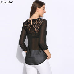 FANALA Summer Women Blouse Lace Loose O-Neck Lady Patchwork Blouse Casual Solid Shirts Female Black Apricot Polyester m24