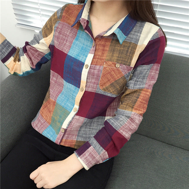 2017 Casual Plaid Women Blouses Kimono Vintage Linen Cotton Long Sleeve Blouse Female Shirts Tops Camisa Feminina Chemise Femme