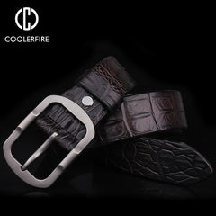 2017 fashion designer 100% men's Genuine Leather Crocodile skin belt male High quality buckle luxury brand brown belts for men