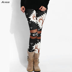 2017 New Women Leggings Autumn And Winter Fitness Leggins High Waist Elasticity Print Warm Leggings Thick Pants