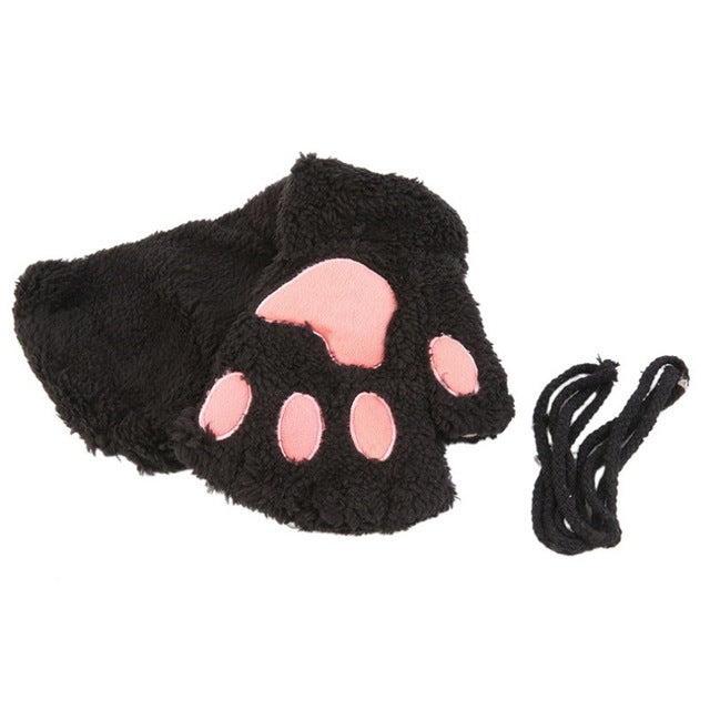 2016 Fluffy Bear/Cat Plush Paw/Claw Glove Novelty Halloween Soft Toweling Half Covered Women's Gloves Mittens S3