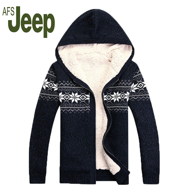 2016 AFS JEEP / Battlefield Jipu Qiu winter new men plus thick hair coat jacket men's hooded sweater cardigan sweater tide 130