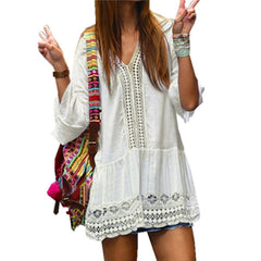 2017 Bohemian Style Women Summer White Dress Sexy Casual V Neck 3/4 Flare Sleeve Lace Crochet Loose Mini Beach Dresses Vestidos