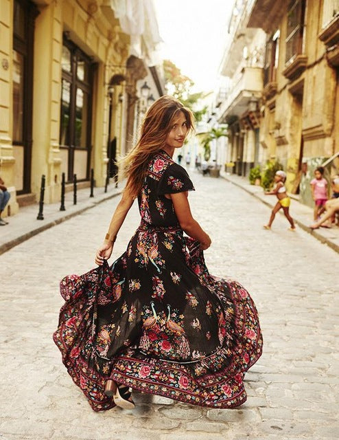 2016 New Women Summer V Neck Vintage Boho Long Maxi Floral National Chiffon Dress Party Beach Dress Floral Sundress