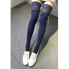 1 Pair Girl Ladies Women Autumn Winter Knitting Lace Warm Over Knee High Socks Thigh Long Cotton Stockings Sexy Pantyhose Tights
