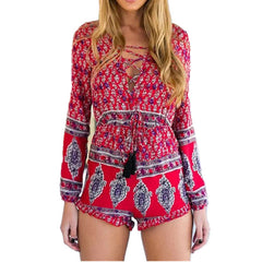 2017 Print Summer Rompers Womens Jumpsuits Bohemian V Neck Long Sleeve Beach Casual Overalls Floral Sexy Short Playsuits