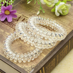 Beautiful Ornaments Transparent girls Elasticity White Telephone wire Line elastics for Hair band Circle headwear accessories