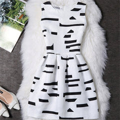 2017 Black White Office Women Dress Harajuku Mini Vintage Summer Dress Work Wear Formal Sleeveless Vestidos De Festa Clothing