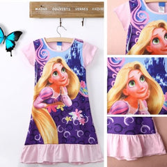 2016 Fashion Kids Girls Casual Dress Tangled Rapunzel Short Sleeve Cotton Pajamas Nightgown Dress 6-16T