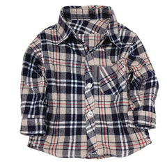 1 2 3 4 5 years long sleeve boys dress shirts children's plaid checkered shirts toddler boy girl Clothing checked shirt flannel