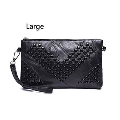 2017 Diamond Genuine Leather Women Bag Rivet  Crossbody Bag Women's Clutch Patchwork Messenger Bag Females Purse Bolsas Feminina