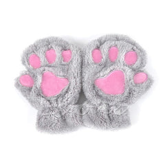 1 PC Winter Women Cute Cat Claw Paw Plush Mittens Short Fingerless Half Finger Gloves