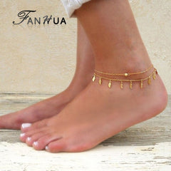 FANHUA Bohemian Jewelry Gold-Color  Silver Color Chain Anklets Leaf Charm Boho Chic Anklets Beach Barefoot Sandals Foot Jewelry