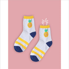 2017 cotton jacquard fruit socks women lovely striped avocado food socks dot point new design ukraine kawaii cute spring socks