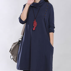 1072# High Neck Knitted Cotton Maternity Dress 2017 Spring Fashion Long Sleeve Clothes for Pregnant Women Pregnancy Clothing
