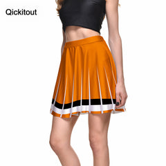 2016 Qickitout Skirts Fashion Slim Women's Orange Skirt  White Black Border 3D Digital Printing Skirts Plus Size Drop shipping