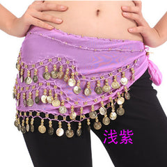2017 Fashion 3rows Gold Coin Belly Dance Costume Hip Scarf Skirt Belt Dancing Wrap