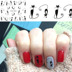 1pcs Nail Art Water Transfer Sticker Decals Hot Black Lazy Cat DIY for Nails Accessory Nail Art Decorations Beauty Tips TRSTZ023