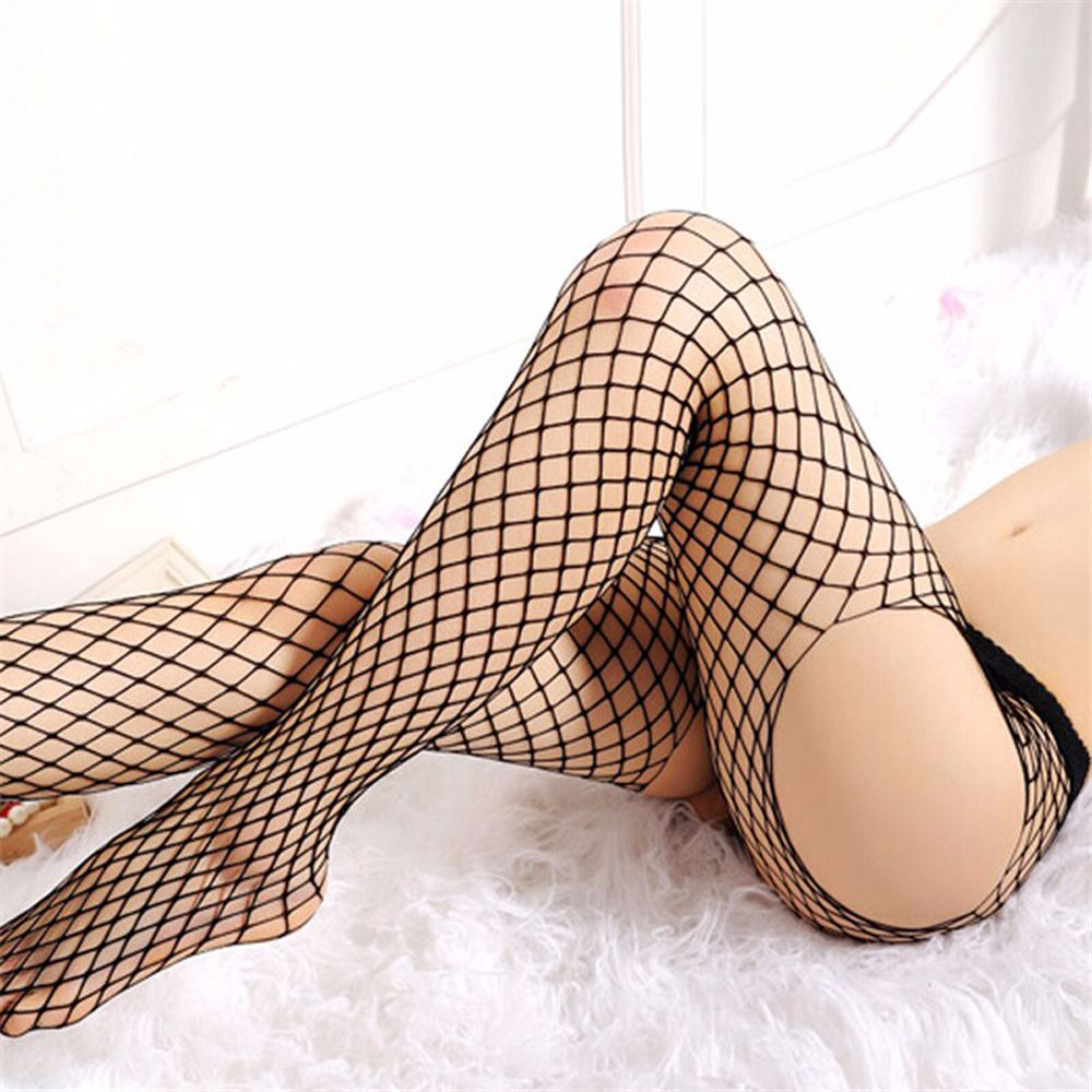 1PC Four Sides Sexy Women  Lady Open Crotch Pantyhose Black Fishnet Fish Net Lingerie Mesh Hosiery Tights Black