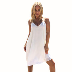 2017 Black White Chiffon Dress Womens Sexy Strap V-Neck Double-Deck Sleeveless Summer Dresses Women Beach Mini Dress #506