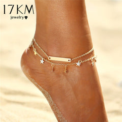 17KM Multi Layer Star Pendant Anklet Foot Chain 2017 New Summer Yoga Beach Leg Bracelet Charm Anklets Jewelry Gift free shipping