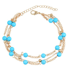 Cloaccd Fashion Multilayer Faux Stone Beads Pendant Tassel Anklet Bohemian Summer Beach Foot Chain Ankle Bracelet For Women