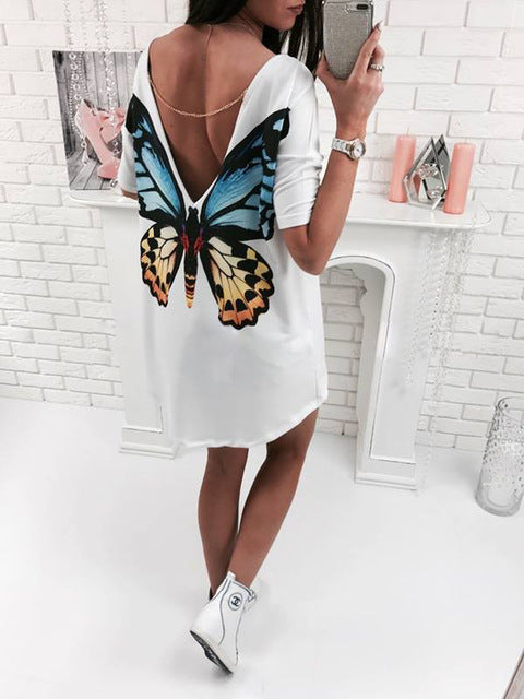 2017 Casual cat butterfly printed O Neck V backless short sleeve Loose white mini dress womens fashion dresses summer women 2017