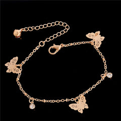 H:HYDE Womens Rose Gold Color butterfly  Anklet Bracelet Fashion Foot Jewelry Accessories